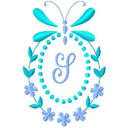 Butterfly Monogram S embroidery design