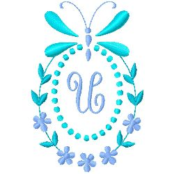 Butterfly Monogram U embroidery design