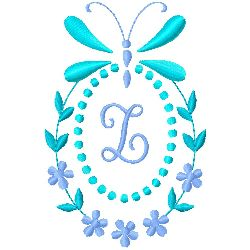 Butterfly Monogram Z embroidery design