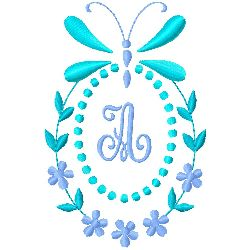 Butterfly Monogram A embroidery design