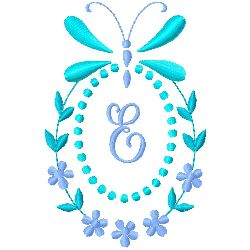 Butterfly Monogram E embroidery design