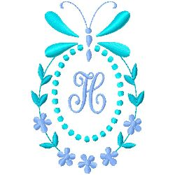 Butterfly Monogram H embroidery design
