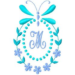 Butterfly Monogram M embroidery design