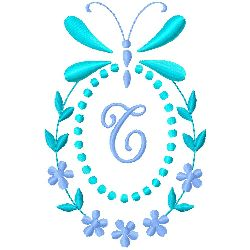 Butterfly Monogram T embroidery design