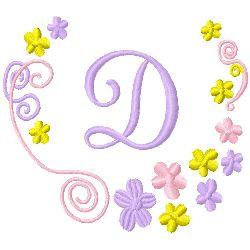 Monogram D embroidery design