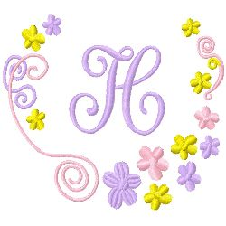 Monogram H embroidery design