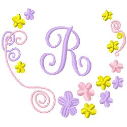 Monogram R embroidery design