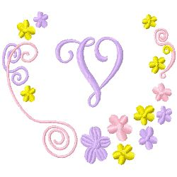 Monogram V embroidery design