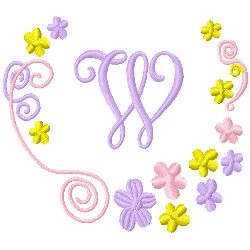 Monogram W embroidery design
