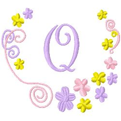 Monogram Q embroidery design