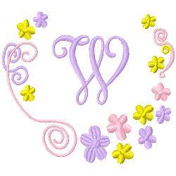 Monogram W embroidery design