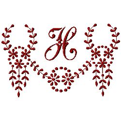 Monogram H embroidery design