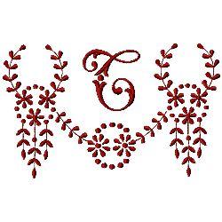 Monogram T embroidery design