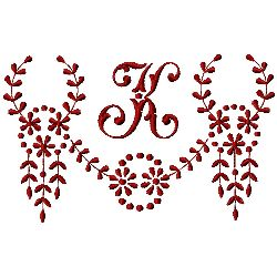 Monogram K embroidery design