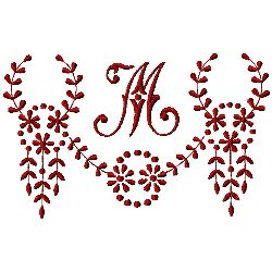 Monogram M embroidery design