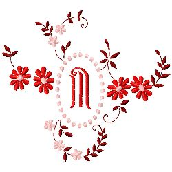 Floral Monogram M embroidery design
