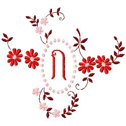Floral Monogram N embroidery design