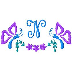 Butterfly Monogram N embroidery design