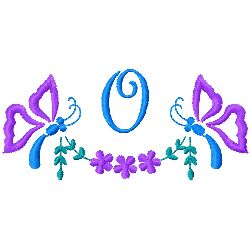 Butterfly Monogram O embroidery design