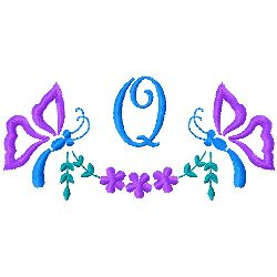 Butterfly Monogram Q embroidery design