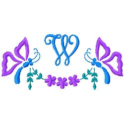 Butterfly Monogram W embroidery design