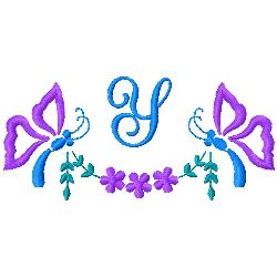Butterfly Monogram Y embroidery design