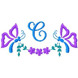 Butterfly Monogram C embroidery design