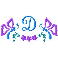 Butterfly Monogram D embroidery design