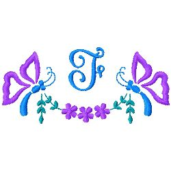 Butterfly Monogram F embroidery design