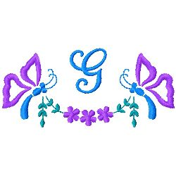Butterfly Monogram G embroidery design