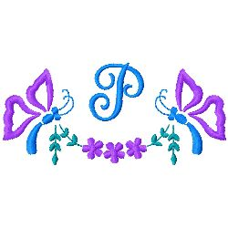 Butterfly Monogram P embroidery design