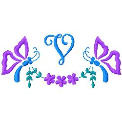 Butterfly Monogram V embroidery design
