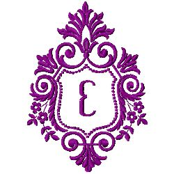 Crest Monogram E embroidery design