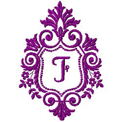Crest Monogram F embroidery design