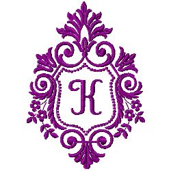 Crest Monogram K embroidery design