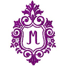 Crest Monogram M embroidery design