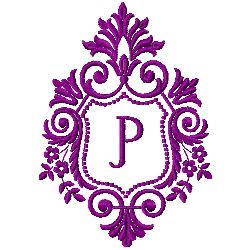 Crest Monogram P embroidery design