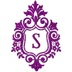 Crest Monogram S embroidery design