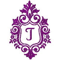Crest Monogram T embroidery design