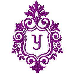 Crest Monogram Y embroidery design