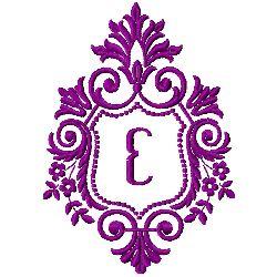 Crest Monogram E embroidery design