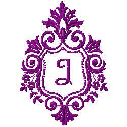 Crest Monogram J embroidery design