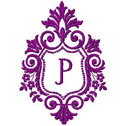 Crest Monogram P embroidery design