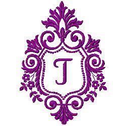 Crest Monogram T embroidery design
