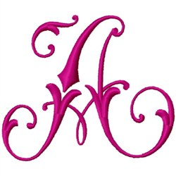 Curly Monogram A embroidery design