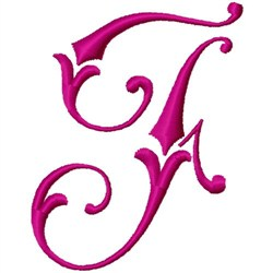 Curly Monogram F embroidery design