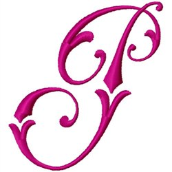 Curly Monogram P embroidery design