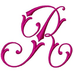Curly Monogram R embroidery design
