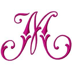 Curly Monogram M embroidery design
