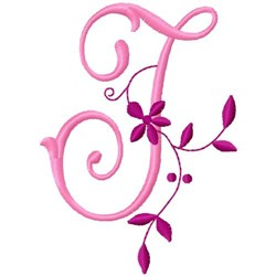 Floral Monogram  J embroidery design